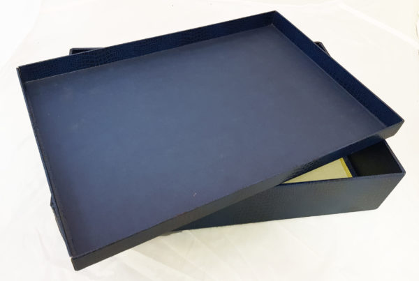 Коробка картонная, крышка-дно, каширована синим бумвинилом1