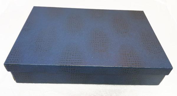 Коробка картонная, крышка-дно, каширована синим бумвинилом2
